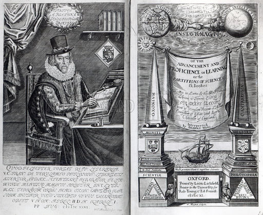Frontispiece and Titlepage from 'Instauratio Magna' by Francis Bacon