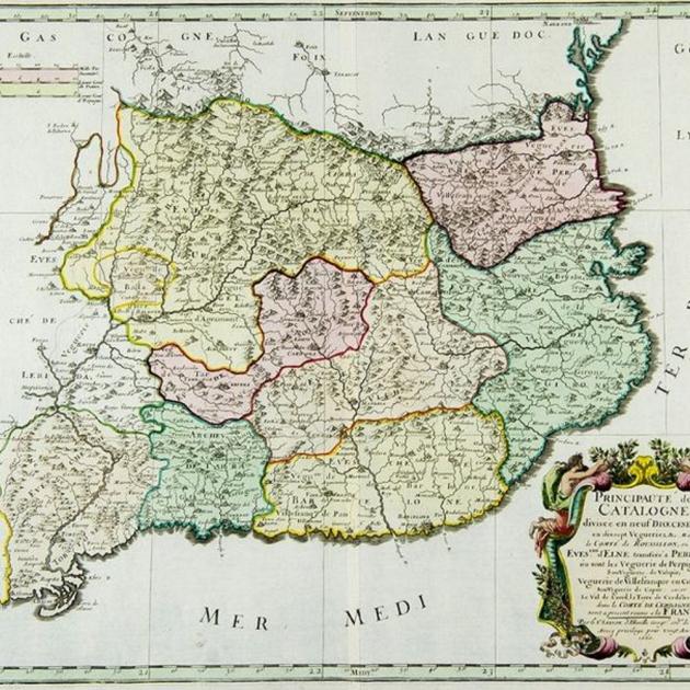 Revolta anti-francesa de la Catalunya Nord. Mapa francès del Principat de Catalunya (amb el Rosselló). Mitjans del segle XVII(1)_1_630x630